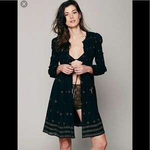 New NWT Free People Shayanti Smocked Robe Dress